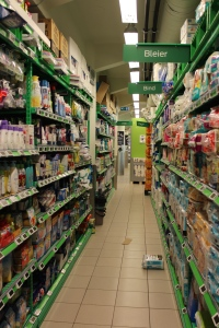 Tiny grocery stores make ample use of every space.