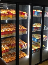 Giant vending machines of popcorn and pork rinds.