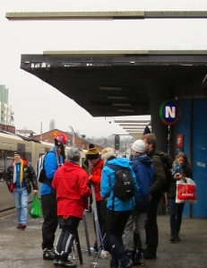 A group of teenagers prepare to board the train to Sognsvann, where ski school awaits.