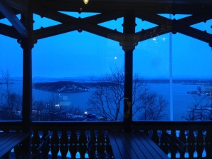 The fabulous view of Oslo's fjord from the porch.
