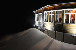 The view of the Cafe from the Fjellheisen -- note the snowbank.