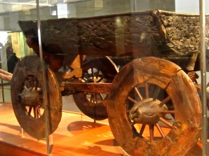 The Oseberg cart features intricate carvings of cats, symbols of the Viking fertility goddess Freya.