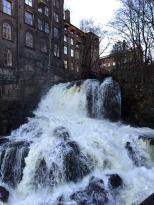 Another gorgeous waterfall next to a re-developed factory.
