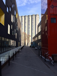 Grain silos converted into student housing.