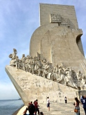 The Monument to the Discoveries, erected in 1960, commemorates the 500th anniversary of the death of Prince Henry the Navigator. He was the first European to explore Western Africa and the islands of the Atlantic. That's him, leading the charge at the front of the Portuguese caravel sailing ship.