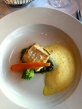 Halibut with saffron foam, peas, a carrot, and lots of other stuff I can't remember.