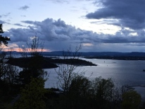 The incoming storm over Oslo's fjord.