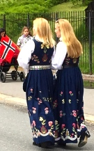Two girls in bunad from Graffer in southern Norway.