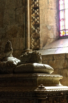 The tomb of Vasco da Gama -- remember him, the first guy to find a water route around Africa to India? The monastery is situated on the site of the old church where da Gama prayed for God's blessing the night before setting sail on his historic journey of discovery.