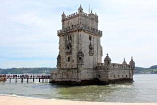 The Manueline Tower of Belém (1515-20), which protected Lisbon's harbor. Note the incredibly long line to get inside.
