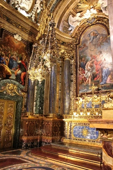 """Called the """"most costly chapel in Portugal,"""" the Chapel of St. John the Baptist contains marble and lapis lazuli mosaics made in Rome."""