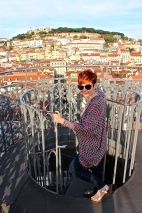I look thrilled with the view, don't I? Note my death grip on the railing.