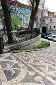 "The black-and-while cobblestoned sidewalks are called ""calçada."""