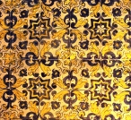 Later tiles were made of glazed and fired majolica ceramics.