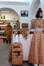 Check out the awesome Sherlock Holmes Macintosh, luggage, and lacy dress made of cork.