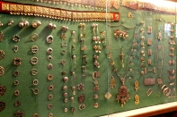 A display of bunad jewelry in the lobby.