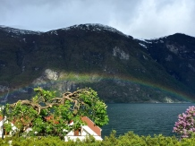 A rainbow over the Aurland fjord.