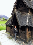 The main entrance to the stave church. Note the open ambulatory -- an exterior, covered walkway that encircles the entire church.