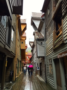 Bryggen consists of a wonderful warren of tilting wooden structures once lived in by members of the German Hanseatic League, a Medieval merchant guild that controlled trade across much of Europe.