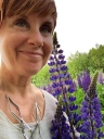 I'm standing up, so this giant lupine is almost five feet tall.