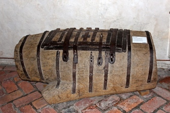 A Medieval church treasury chest made from a hollowed-out Yew log (another sacred tree of pagans.)