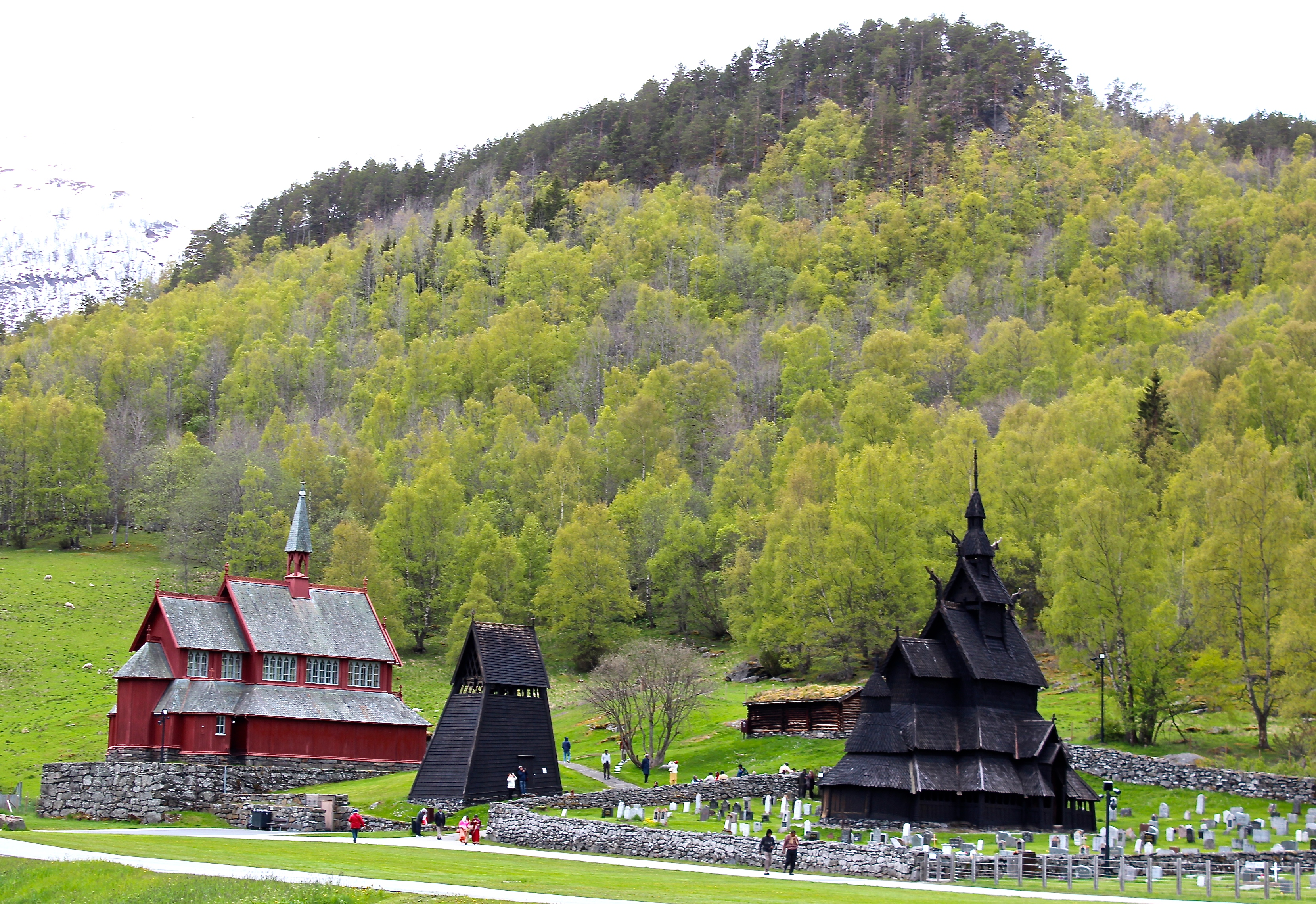 The Modern Church (1868) Sits On The Left, The Medieval Bell Tower Is The  Triangular Structure In The Center, And The Borgund Stave Church Is On The  Right.