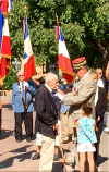 With his great-granddaughter standing by, André Ferrand, a 93-year-old WWII veteran, was awarded the insignia of Chevalier of the National Order of the Legion of Honour by General Philippe Vial for his voluntary service in September of 1944, in the 1st Artillery Regiment.