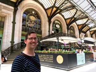 Standing outside the gorgeous Le Train Bleu restaurant inside the Gare de Lyon train station, where we took the TGV from Paris to Avignon.