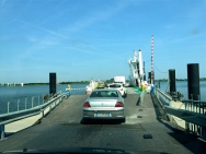 We had to take a tiny ferry to continue our journey across the lagoons of the Camargue.