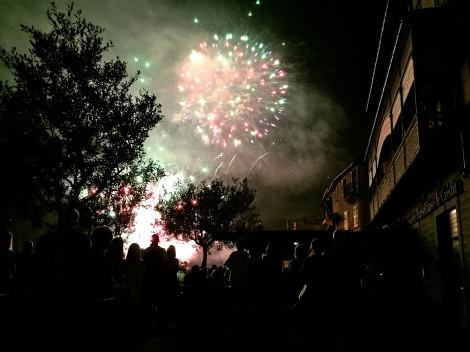 The fireworks over the harbor at Cassis, accompanied by an Edith Piaf soundtrack.