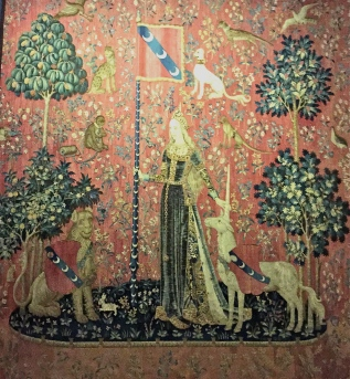 "Dating back to around 1500, five of the six ""Lady and Unicorn"" tapestries represent the five senses. This one is ""touch."""