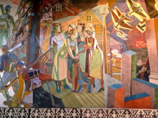 "On the far left of the ""Nazi Occupation Mural,"" we see men skiing into the woods to begin the resistance movement. Women gather around the town pump to share news, while Quislings (Norwegians traitors who conspired with the Nazis) listen in. On the right, the German blitzkrieg begins."