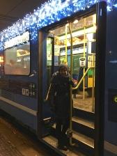 On Sundays, musicians dressed as Nisse (elves) lead sing-alongs for passengers on the Trikk.