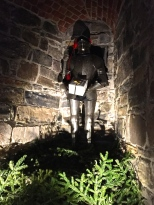 Not such a bad-ass at Christmas time, this festive knight sits tucked in a portion of the remaining Daredevil Tower.