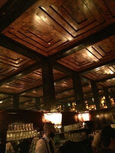 The interior of the tiny bar is gorgeous, but unfortunately the experience is marred by a suffocating amount of cigarette smoke. Although the bartender reputedly serves excellent cocktails, we couldn't tolerate the cancerous cloud.
