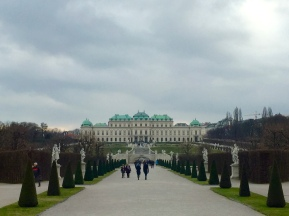 Prince Eugene's Upper Belvedere Palace gave him the opportunity to look down on the Hapsburgs, both literally and figuratively, since their palace sits at a lower elevation and isn't nearly so elaborate.