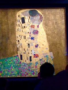 "No photos were allowed in the exhibition, but I did manage to snap a shot of Klimt's ""The Kiss"" in an adjacent gallery."