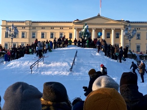 What king wouldn't want kids performing ski stunts in the front yard of his palace?