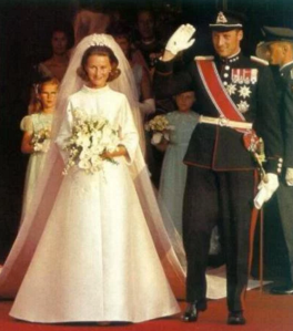 Harald (then Crown Prince), and Sonya's wedding day. Photo: Royal Order of Sartorial Splendor.