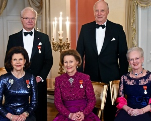 The Scandi royals all joined in for a gala dinner, including Sweden's King Carl XVI Gustav and Queen Silvia (left), Norway's King Harald and Queen Sonja (center), and Denmark's Queen Margrethe (right). Photo: Sven Gj. Gjeruldsen, The Royal House of Norway
