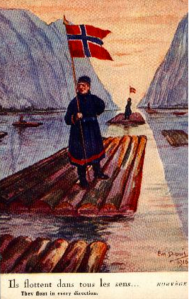 "A postcard designed by Emil Depuis and entitled ""They float in every direction"" shows the French belief that Norway didn't know its own mind during WWI. In reality, Norway became known as the ""The Neutral Ally"" for its covert support of Britain, made stronger after Germany sank 847 Norwegian merchant ships during the war."