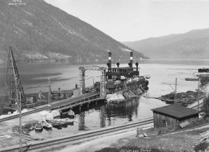 The SF Hydro Ferry at Mael in 1925, later destined to carry the heavy-water supply from the plant.