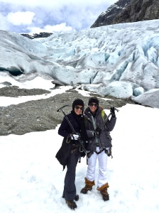 Yeah, my sister and I look tough here, don't we?  But it was our first time glacier hiking, and it's totally worth the exhaustion and the extra drive time into inner Norway.