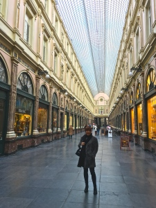 Our hotel stood steps away from the glass-covered Galeries Royales Saint-Hubert. Built in 1847, its Europe's oldest shopping mall still in operation. It's greenhouse conservatory style influenced those of similar shopping galleries in Paris, London, and other cities.