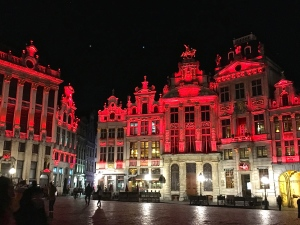 """Although they're meant to be Valentine's Day festive, the eerie red lights give the square a hellish """"Dante's Inferno"""" feel."""