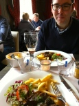 Our mouthwatering meal of traditional Flemish stew and frites at the adorable Gruuthusehof. Frites, by the way, were invented by the Belgians, not the French. Belgian frites are fried twice to make them super crispy.