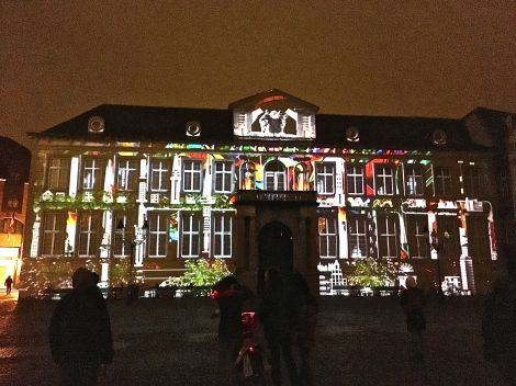One night, we strolled into the Burg Square and happened upon an art installation that projected moving graphics upon the wall of the building with the simplest facade. We watched it three times, it was so cool.