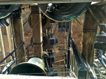 Check out all the wires that control the multiple hammers striking the bells. Every bell has several hammers so that the same note can be struck in rapid succession to carry a tune.