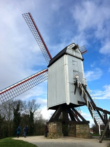The Bonne Chiere Windmill was relocated to the edge of Bruges from elsewhere in Belgium.