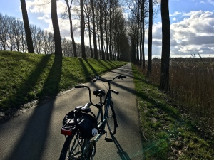 "Behold, our tandem awaits by the canal that leads to Damme. By the way, in Belgian French, a bike is called a ""fiets."""